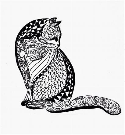 Cat Doodle Coloring Doodling Zentangle Zen Patterns