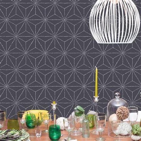 asian shibori pattern  wall stencils  painting