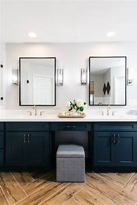 Transitional, Master, Bathroom, With, Dark, Blue, Vanity