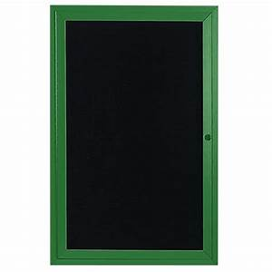 aarco oadc4836g 48quot x 36quot enclosed hinged locking 1 door With black letter pin board