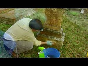How to Clean a Stone Grave Marker - YouTube