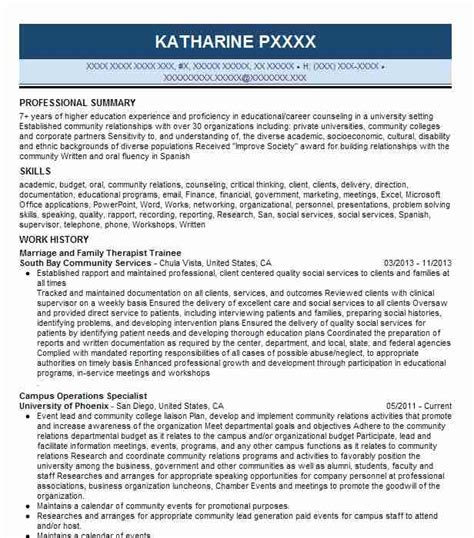 marriage  family therapist resume sample livecareer
