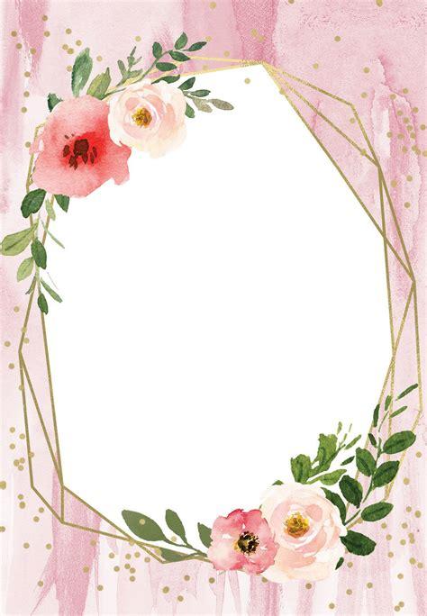 Polygonal frame and blush flowers Quinceañera Invitation