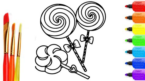 How To Draw Three Lollipop Candy Coloring Page For Kids I