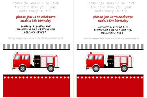 copy  fire truck birthday party invitation postermywall