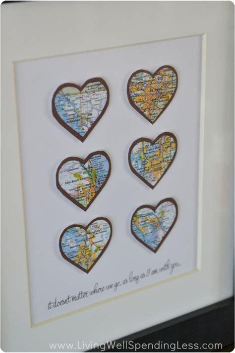 diy heart map wall art project living  spending