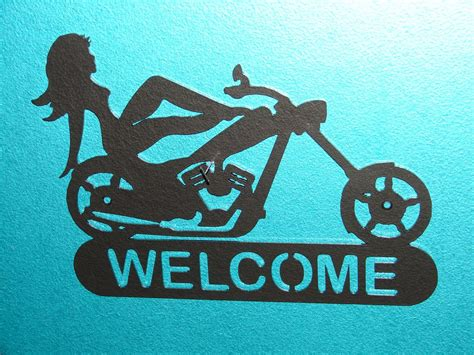 Harley Davidson Signs Decor by Chopper Motorcycle Welcome Sign Home Decor Wall Harley