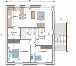 plan appartement 90 m With plan maison avec appartement