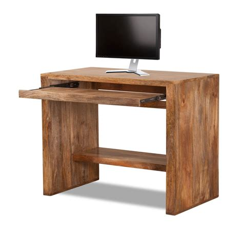honey oak solid mango wood computer desk casa handcrafted