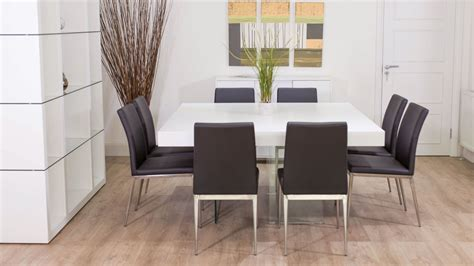 Large Square White Oak Dining Table   Trendy Glass Legs