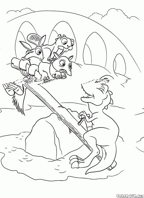 coloring page ice age dawn   dinosaurs