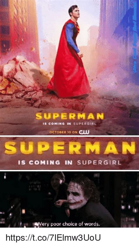 Supergirl Memes - superman is coming in supergirl october 10 on cw superman is coming in super girl mery poor