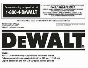 Dewalt 12 1  2 U0026quot  Planer Instruction Manual Model  Dw734
