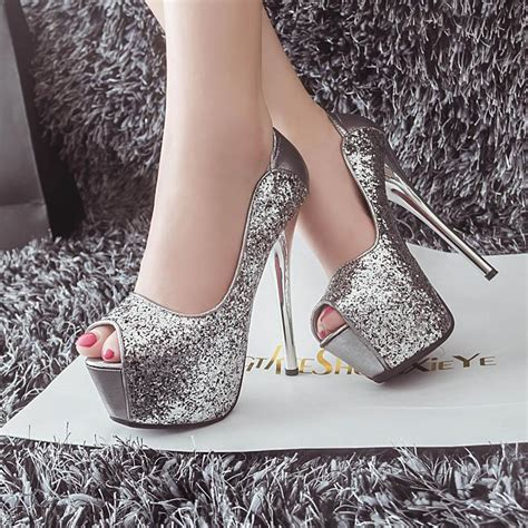 Wedding High Heels by Bridal Silver Black Wedding High Heels Shoes Sequined