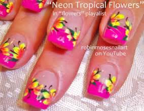Neon bright spring flower nail art rainbow nails