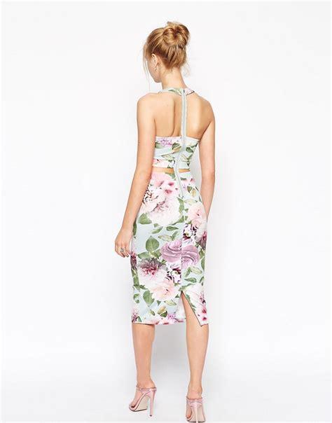 asos asos vintage rose  piece bodycon dress  asos