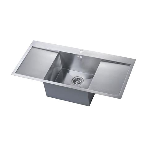 bowl drainer kitchen sink zenuno 1 0 bowl sink with drainer sinks taps 9610