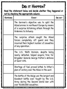 battle   bulge facts worksheets  kids ardennes