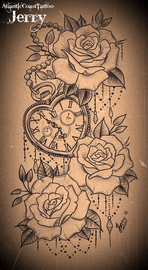 Heart Shaped Pocket Watch And Roses Tattoo Design