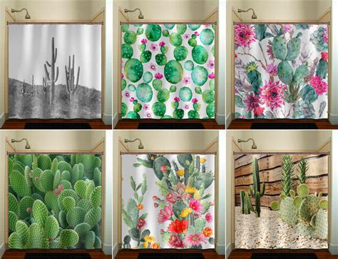 Cactus Shower Curtain - cactus shower curtain fabric window panel