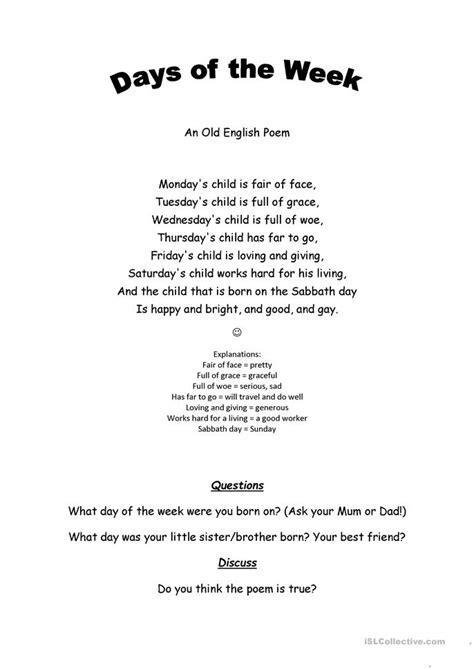 days   week poem worksheet  esl printable