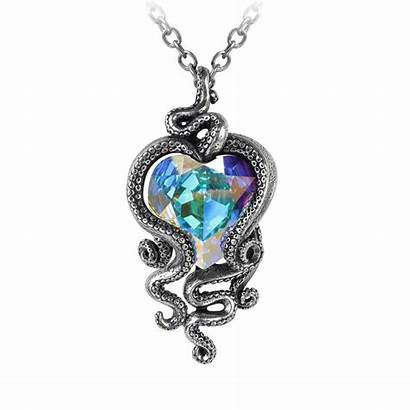 Heart P723 Octopus Cthulhu Tentacles Jeweled Pendant