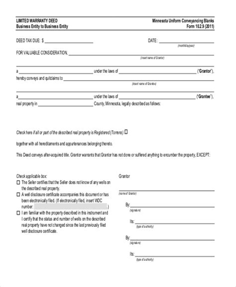 mn conveyance forms sle warranty deed form 11 free documents in word pdf