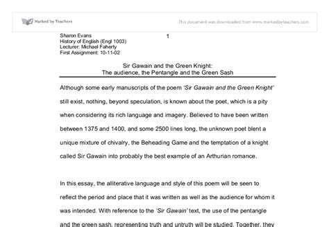 Gawain Essay by Sir Gawin Picture Essay Deaththesis X Fc2