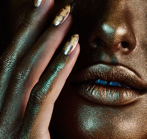 glitter face neon colored powder gold leaf textured edgy