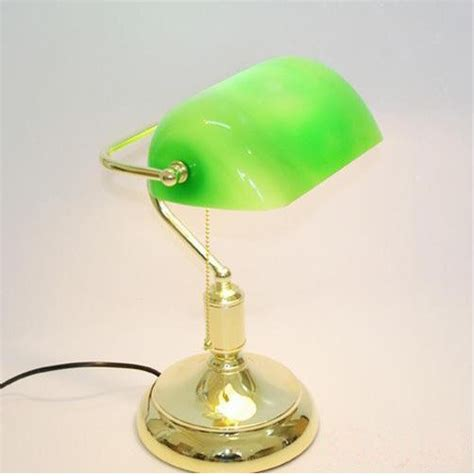 Vintage Bankers L Green by Vintage Brass Bankers L With Green Glass Shade In Table