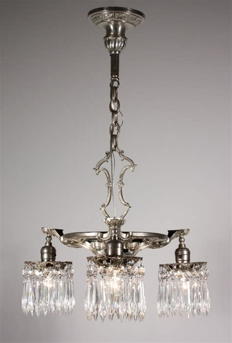 beautiful antique neoclassical silver plated three light