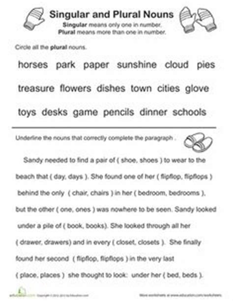 16 best images of singular and plural noun worksheets