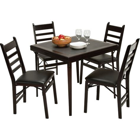 Cosco Wooden Folding Table And Chairs by Cosco 5 Wood Folding Dining Set With Ladder Back