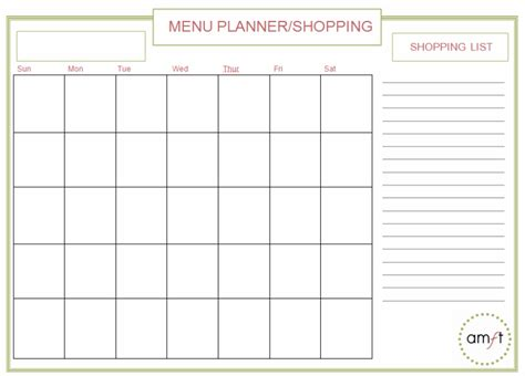 monthly weekly menu planners printables amft
