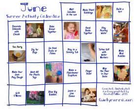 Preschool Summer Activity Calendar