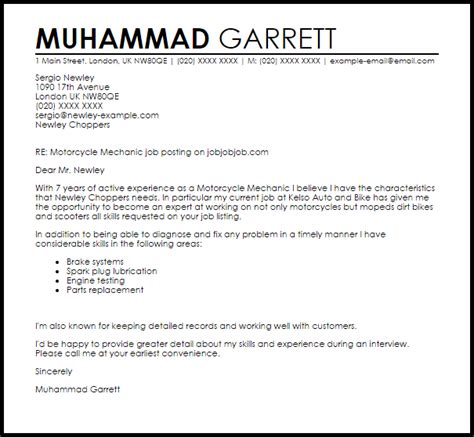 Cover Letter For A Mechanic by Motorcycle Mechanic Cover Letter Sle Cover Letter
