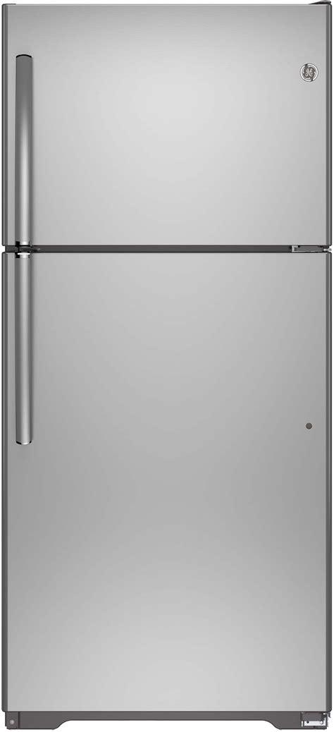 ge gieishss   top freezer refrigerator   cu ft capacity  adjustable glass