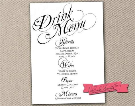 printable drink menu card diy wedding reception drinks