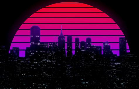80s Neon City Wallpaper by Wallpaper The Sun The City Building
