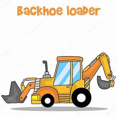 Loader Backhoe Retroexcavadora Cartoon Escavatore Fumetto Rovescia