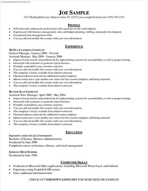 Create Resume by Create Resume Template Free Sles Exles Format