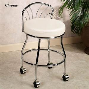 bathroom ideas chrome metal based vanity chair with With vanity chair for bathroom with wheels