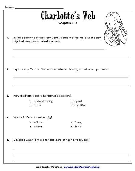 Charlotte Web Worksheets  Kidz Activities
