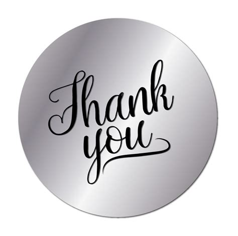Thank You Stickers  Silver With Black Text Or White With Silver Text 60mm Stickerzone