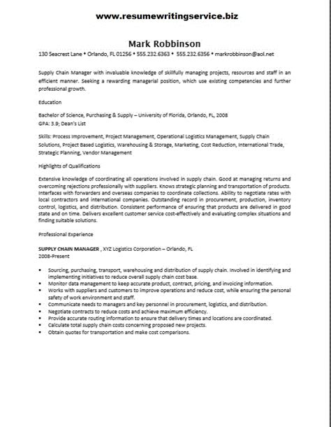 supply chain manager resume sle