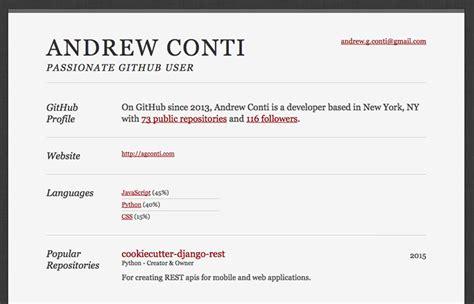 github resume fresh resource for web developers 39 october