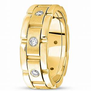 Round cut diamond gold wedding rings for men in 14k ipunya for Wedding gold rings for men