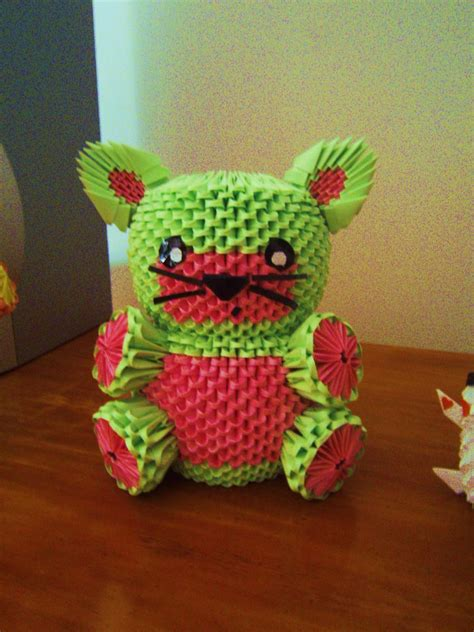 origami watermelon cat  onelonetree  deviantart