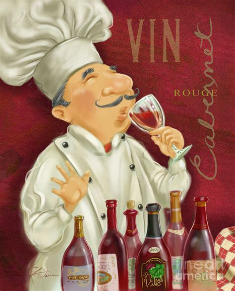 cuisiner de a à z wine chef i mixed media by shari warren