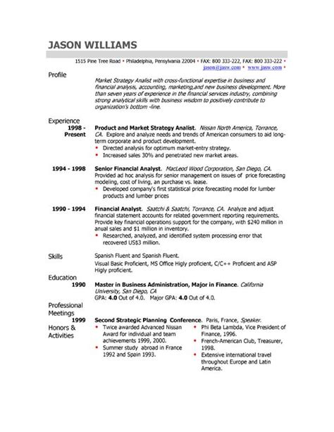 Exle Of A Profile For A Resume by The Resume Professional Profile Exles Recentresumes